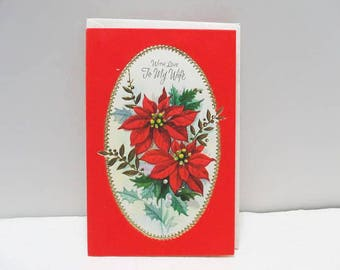 """Gibson Christmas Greeting Card, """"To My Wife"""" / Bouquet Of Poinsettias With Red Velvet / Unused Card"""