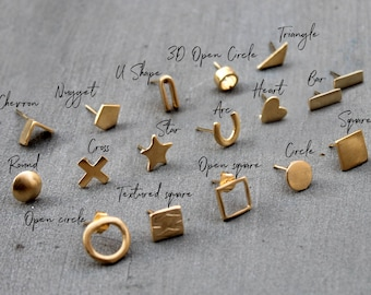 Everyday Earrings, Delicate stud earrings, gold delicate studs, Minimalist earrings 18k gold stud earrings unique earring Geometric earrings