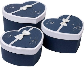 Luxury Navy Blue & White Floral Heart Gift Box - Set of 3
