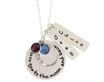 Ultimate I Love You To the Moon and Back Personalized Sterling Silver Necklace with Two Names / Birthstones - By Hannah Design