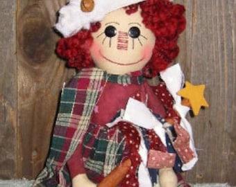 Americana Christmas Doll Epattern, Raggedy Ann,  Digital Downloadable Pattern
