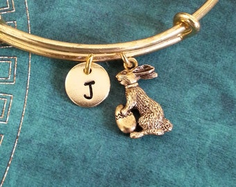 Easter Bunny Bracelet Easter Bunny Bangle Rabbit Charm Bracelet Expandable Bangle Stackable Bangle Adjustable Bangle Personalized Bangle