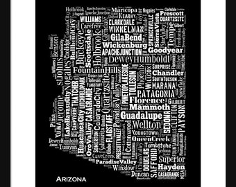 Arizona Typography Grunge Map Poster Print Black