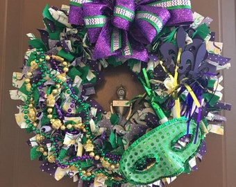 Mardi Gras Party Wreath