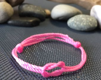 INFINITY Pink Cord Bracelet, Breast Cancer Awareness Month, It's a girl! Baby shower. Wish Bracelet, Team Spirit, Sports Team,Easter Gift.