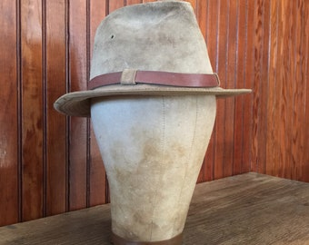 LL Bean Small Suede Leather Fedora Hat Traveler Outdoor Explorer Men's Vintage Made In USA 70s