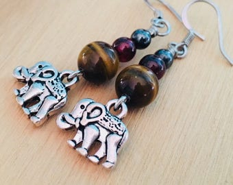 Elephant earrings, elephant jewelry