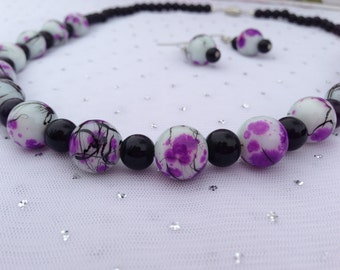 Purple Necklace, Jewelry Gift Set for Her, Statement Necklace, Purple Beaded Jewelry, Purple Dangle Earrings, Christmas Gift Idea