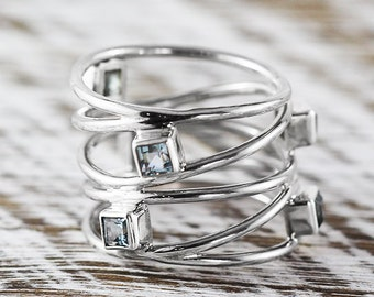 Sterling Silver Rings for Womens Sky Blue Topaz Jewelry