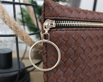Pouch / Case Brown faux leather with black lining and zipper Golden buckle