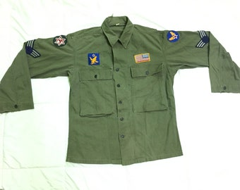 Vintage Rare HBT 13Star Second Type Herringbone Army Millitary 1940's Frogskin WW2 Full Patches