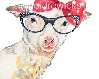 Lamb Watercolor Painting - Fine Art PRINT, Sheep Watercolour, Retro Glasses, Nursery Art, Animal Painting