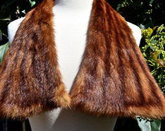 Real Fur Shawl Scarf Collar 1940s ~Beaver Shawl Collar~ Oblong Triangular Beaver Fur Scarf 34 Inches Long