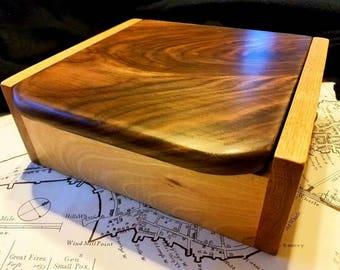 Wood Box, Jewelry Box, Mens Valet, Keepsake, Fathers Day