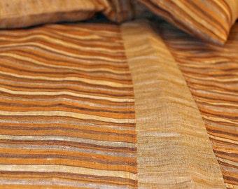Tan, Ochre, Grey Striped Reversible Duvet cover set
