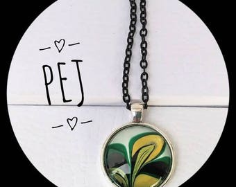 Handpainted,cabochon,pendant,necklace,giftsforher,watermarble,jewelry,glass