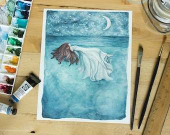 The Sea Will Hold You - Ocean dreamscape art. Whimsical nightsky over the ocean print