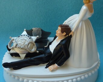 Wedding Cake Topper Police Officer Themed w/ Bridal Garter Bride Groom Policeman Hat Badge Handcuffs Badge Cap Humorous Funny Reception Top