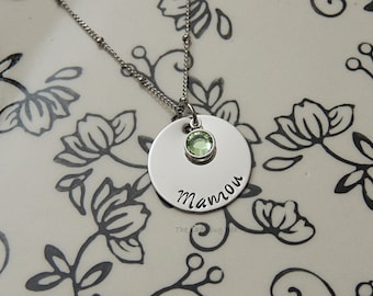 Stainless steel name disk with birthstone