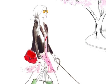 Digital Download - Watercolour Fashion Illustration Titled Strolling through Knightsbridge