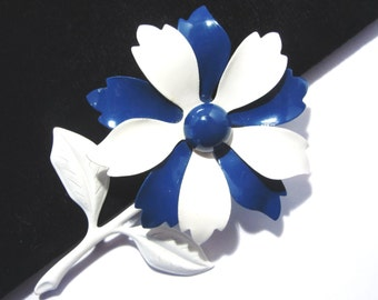 Vintage Blue and White Enamel Flower Brooch 60s