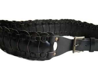 Vintage Brown wicker belt women ECO leather braided belt  Boho hippie belt Vegan belt steampunk belt Bicker Western belt Rock belt