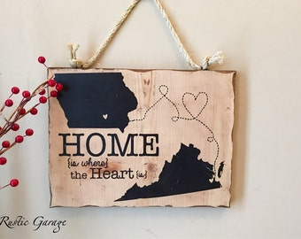 Home is Where The Heart Is - Personalized Handmade Rustic Wood Sign Iowa Virginia Custom Distressed Sign - Mother's or Father's Day