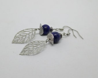 Blue beads and silver leaf earrings
