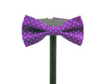 Magenta And Turquoise Polka Dot Bow Tie | Groomswear | Bridalwear