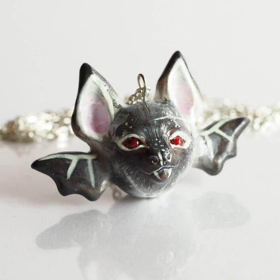 FULL MOON BABY, Bat - Handmade Polymer Clay Sculpture