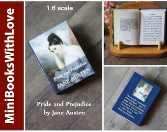 MINIATURE book, PRIDE and PREJUDICE by Jane Austen, readable 1:6 scale books, dollhouse miniatures, blue book cover