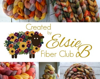 July **100% Wool** Fiber Club Subscription, 4 oz hand dyed roving, spinning fiber, Created by ElsieB hand dyed combed top fiber of the month
