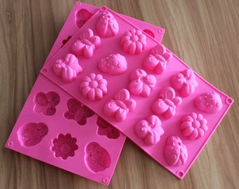 15-cavity Butterfly Bee Dragonfly Cake Mold Flexible Silicone Soap Mold For Handmade Soap Candle Candy