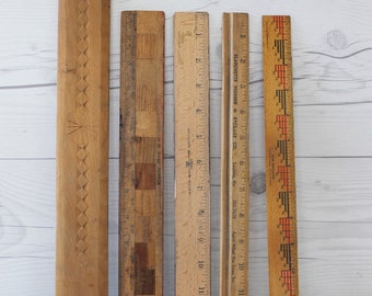 Vintage Lot of 5 Wood Rulers, Vintage Unique Wooden Ruler Lot