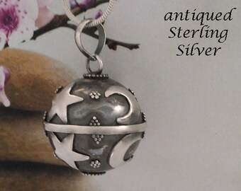 Harmony Ball, Antique Sterling Silver Finish with Stars and Moon Symbols   Bola Necklace, Angel Caller, Gifts, Pregnancy Gift 724