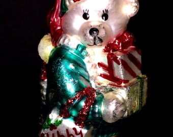 Cubby Bears Glass Ornament by Santa's Best - Carrying Gift packages In a Rush - Two Bags marked Cubby - Mouth Blown Ornament - Handcrafted -
