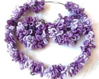 Purple Earrings, Crochet Earrings, Hoop Earrings, Women Jewelry, Party Earrings, Boho Earrings, Knitted Earrings, Romantic Jewelry