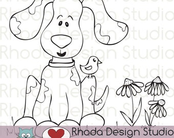 Puppy and Bird Digital Clip Art Coloring Stamps