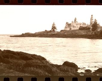 Landscape Photography, Black and White Landscape, Ocean, Beach, Rocks, Maine, House, Forgotten Past, 8x8 inch Fine Art Photography Print