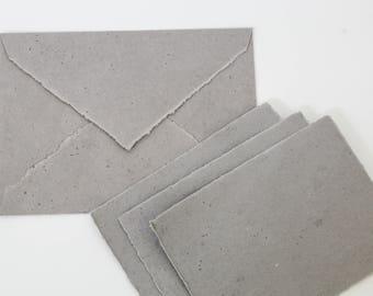 Dark Grey Deckle edge hand made cotton rag recycled paper