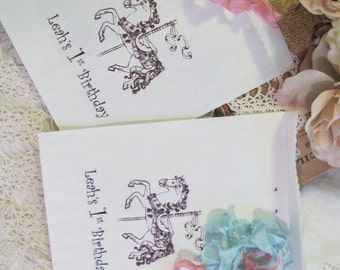 Carousel Horse Favor Bag - White Paper w/Ribbon - Personalized - Set of 15 - Choose Ribbons - Birthday Baby Shower Bridal Carnival Circus
