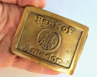RARE Bank of Amador Solid Brass Belt Buckle, Goldmine Head Frame, Kennedy Argonaut Mine Motherlode Jackson California Jackpot Jen Vintage