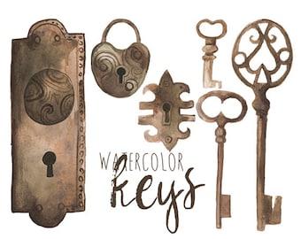 Watercolor Locks Clip Art, Keys Clipart, Vintage Locks and Keys, Old world Keys, Brass Locks Brass Keys, Romantic Clip Art, Lock and Key