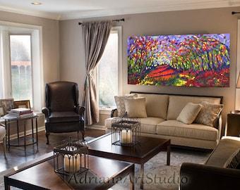 Original Abstract Oil painting, autumn landscape, original art, modern impressionism art, palette knife art, wall decor