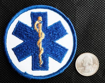 Custom Gold thread embroidered EMT logo patch