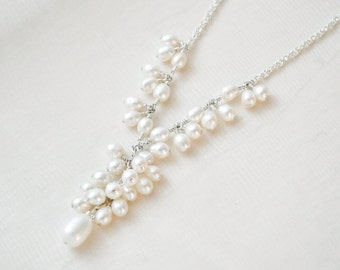 Freshwater Pearl Necklace, Pearl Wedding Necklace, Bridal Y Necklace, Sterling Silver Necklace
