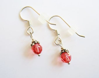 Salmon Dangle Earrings - Swarovski 6mm Crystals and Sterling Silver wires