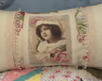 Romantic shabby chic Pillow covers cream rose decorator print fabric picture vintage wedding pearls crochet lace ruffles