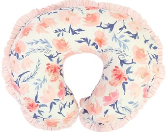 Willow's Blush & Navy   Watercolor Floral Nursing Pillow Cover