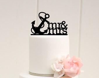 Mr & Mrs Anchor Nautical Wedding Cake Topper - 0067